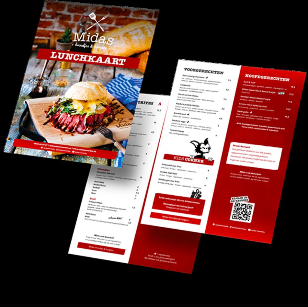Ontwerp Menukaart Midas Restaurant Branding Woerden